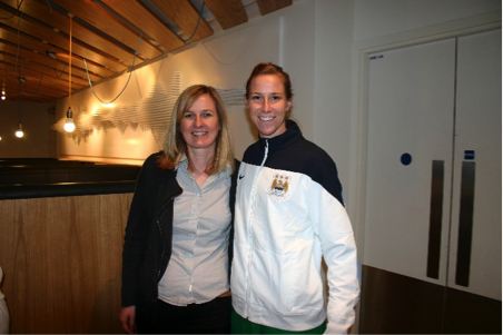 Heidi Ward, goalscorer in the club's first game in 1988, with present day goalkeeper Karen Bardsley at the Etihad Stadium