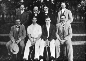 Eaves (far left front row) and Bob Wrenn (third from left back row) 1897