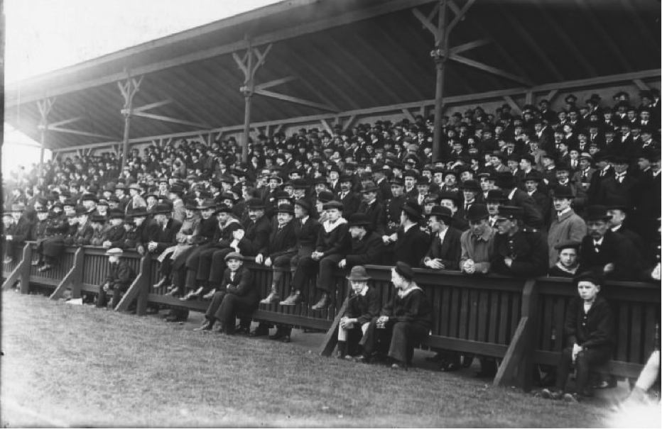 Danish crowd for a friendly between Danish club 'Frem' and Swedish club 'Göteborg' on 21st April 1916. Photo: The National Library of Denmark, photographer Holger Damgaard