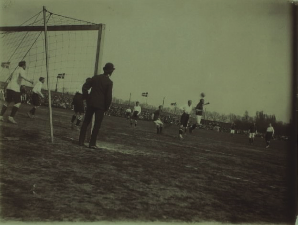 Middlesbrough playing a Danish Select on 9th May 1907, before 'Idrætsparken' was built Photo- The National Library of Denmark, unknown photographer