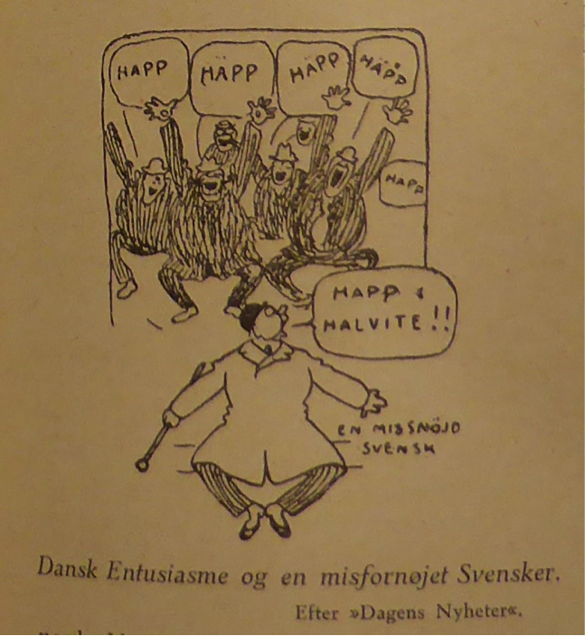 "Swedish cartoon reprinted in ""Sports-Magasinet"" showing a Swedish spectator being unsettled by a chorus of Danish supporters 1915. ""Sports-Magasinet"""