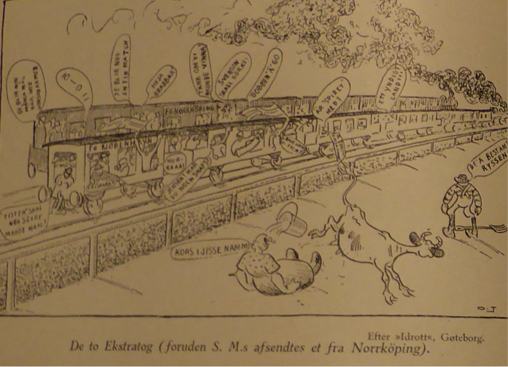 "Swedish cartoon reprinted in ""Sports-Magasinet"" showing the Danish football special being overtaken by a Swedish train from Norrköping enroute to the match. The farmer in the foreground says ""It must be the Russians coming!"", whereas his wife just says ""Holy Christ!"". ""Sports-Magasinet""."