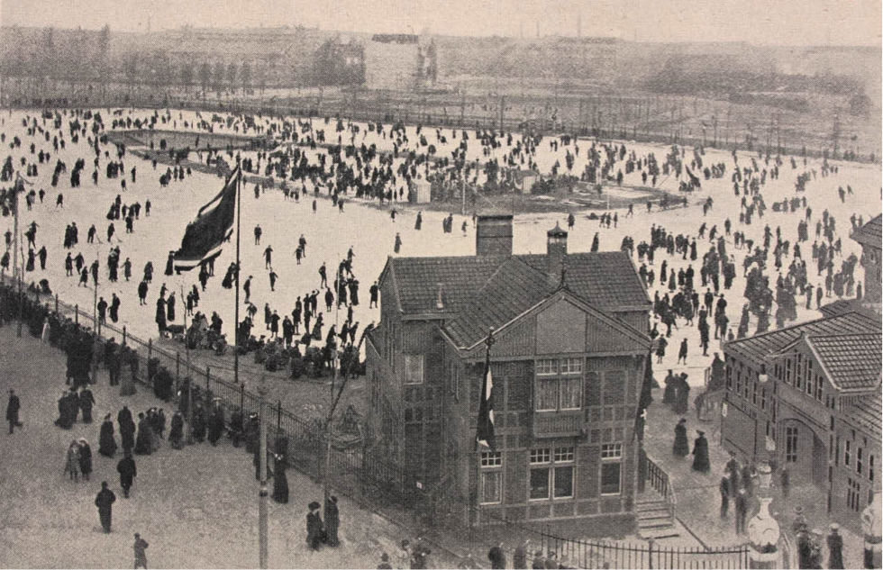 The skating rink of the Amsterdamsche IJsclub behind the Rijksmuseum, Amsterdam c1900