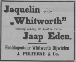 Whitworth advert from the Arnhemsche Courant, 1896- Jaquelin on his Whitworth on Saturday 12th April in Paris beat Jaap Eden