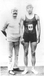 Frederick Holman with trainer Walter Brickett