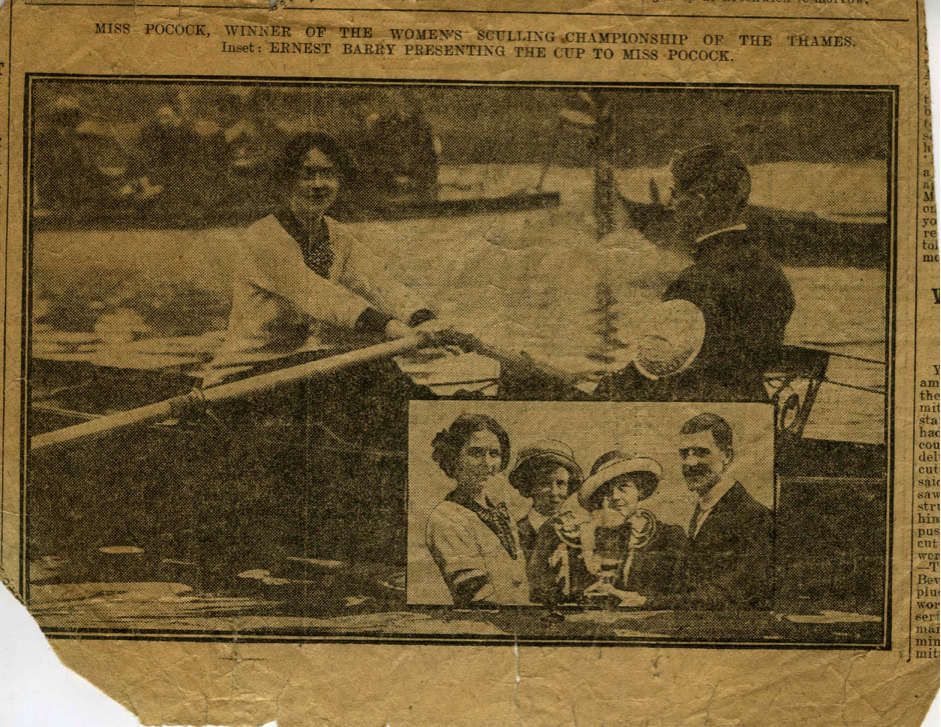 Newspaper image of Lucy Pocock racing, and being presented with her trophy, following the 1912 Women's Sculling Championship © River & Rowing Museum