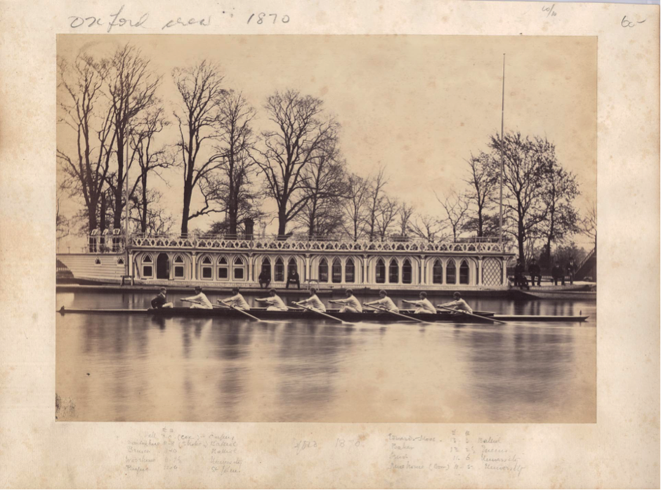 Oxford crew 1870: Oxford University VIII, in front of the OUBC barge © River & Rowing Museum