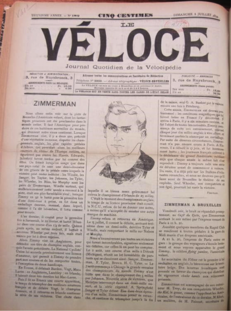 The front page of Le Véloce (1893)