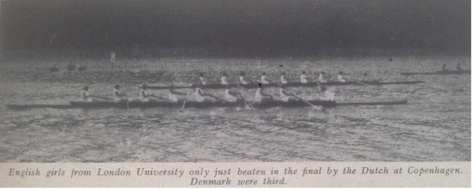A close call- The women's eights final at the 1953 International Women's Regatta