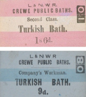 Entrance tickets for the Crewe Turkish baths, c.1870s