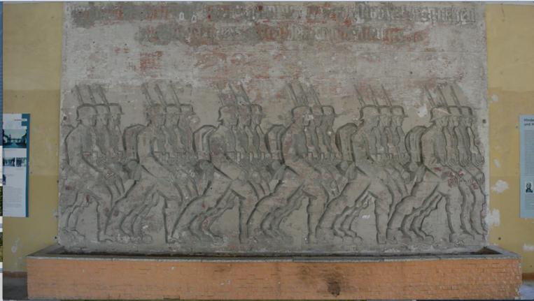 Nazi wall relief at the Hindenburghaus, Image courtesy David Gledhill
