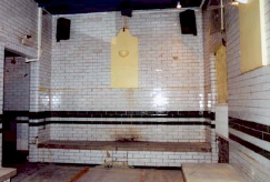 One of the hot rooms at the (probably male only) staff Turkish Baths at the Wimbledon Theatre, opened 1910