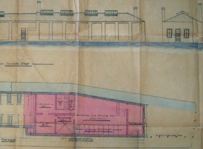 Plan and elevation of the first Turkish baths at Swindon, opened 1868
