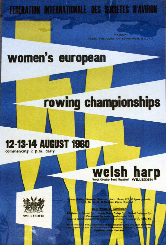 Poster for the 1960 European Women's Rowing Championships, to be held at the Welsh Harp © River & Rowing Museum