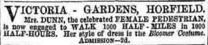 an advertisement for a well-dressed female pedestrian - Jane Dunn's 500-mile walk at a pleasure garden (Bristol Mercury, 2 September 1854)