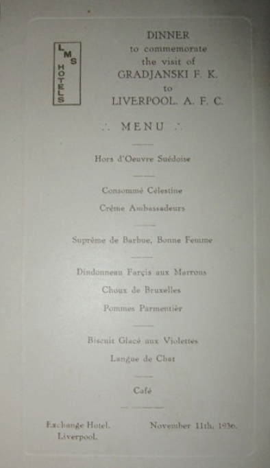 Official Dinner menu