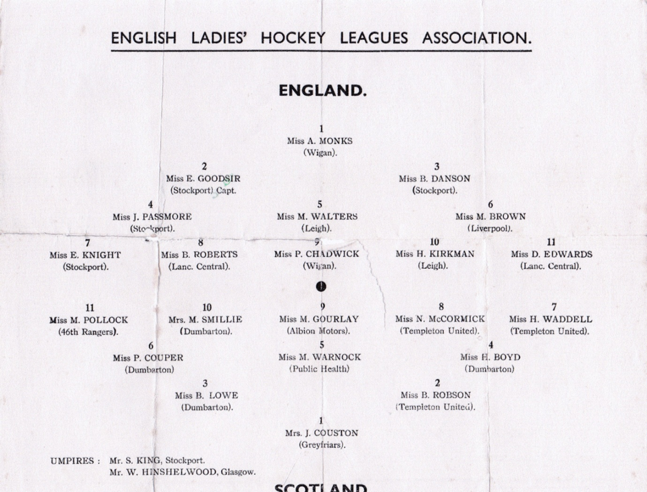 England and Scotland teams from the Leagues' International Hockey Match played on Saturday April 15th 1939 at Cheadle Heath Sports' ground, Stockport