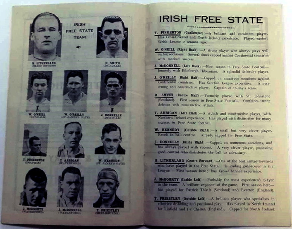 Irish team from the official programme