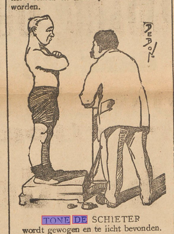 Sportvriend-contributor nicknamed 'Tone de Schieter' in a 1913 Sportwereld-caricature. The caption translates as 'tried (lit. weighed) and found wanting.