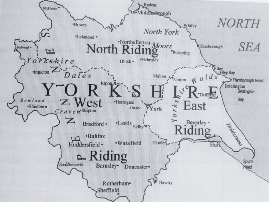 Map of the old Yorkshire Ridings