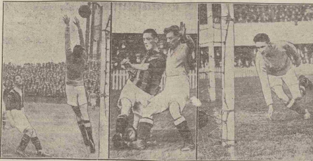 Left – a shot by Alex Jackson hits the crossbar, while Walter Jackson watches on. Centre – Alex Jackson tackles Hopewell. Left – Walter Jackson's first goal Aberdeen Press and Journal – 22nd September 1924