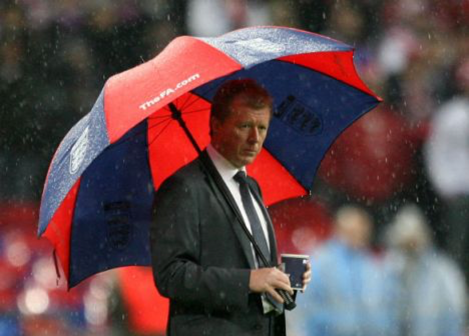 Steve McLaren – trying to stay dry!!!