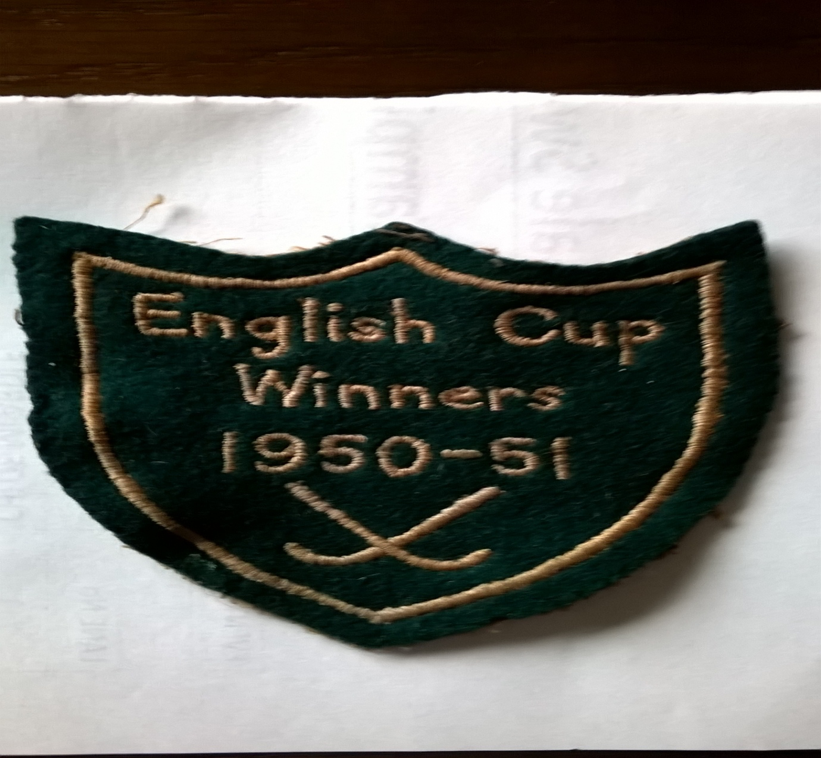 Cloth Badge presented to Edith Ford of Newhey Ladies Hockey Team after the team won the English Cup in the 1950-51 season