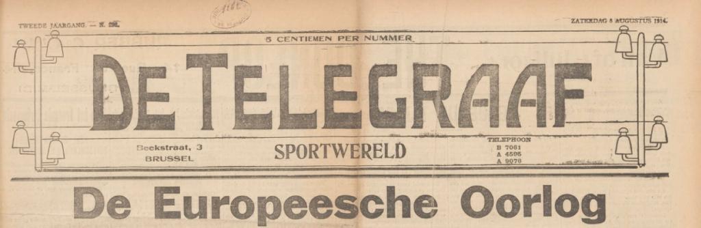De Telegraaf-Sportwereld Saturday 8 August 1914