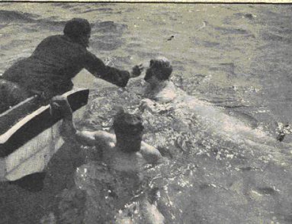 Walter feeding Jabez Wolffe during Channel attempt