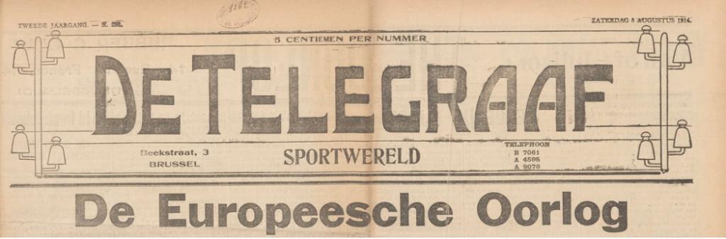 The Telegraaf-Sportwereld of Saturday 8 August 1914