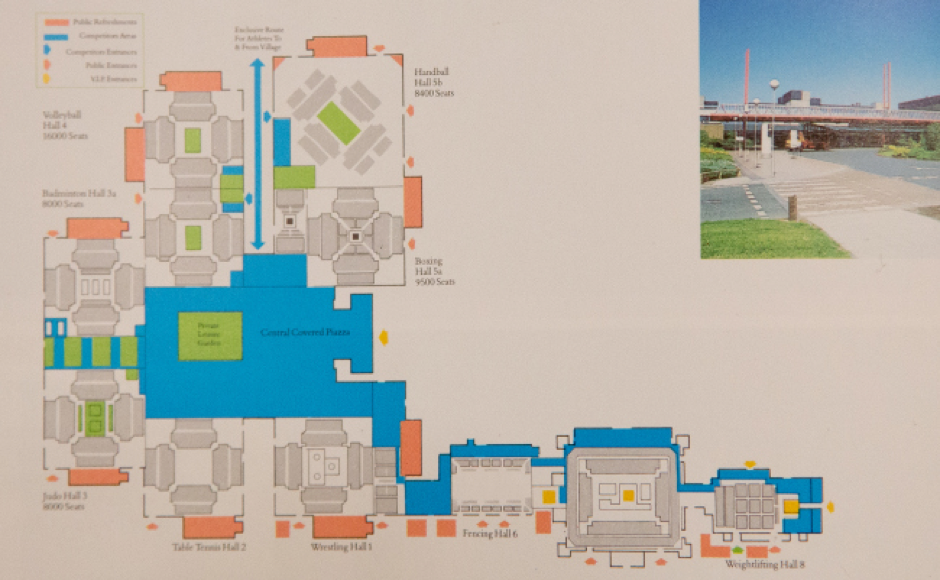 Outline plan of the proposed range of venues at the NEC for 1992 Olympic