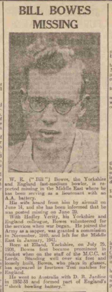 """Bill Bowes Missing"" (Dundee Evening Telegraph of Monday 13 July 1942)"