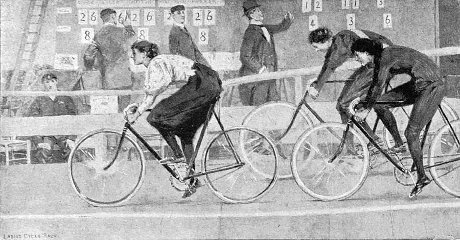 A drawing depicting women's cycle racing at the Royal Aquarium. Source- © British Library Board (The Graphic, 2 January 1897, p. 4)