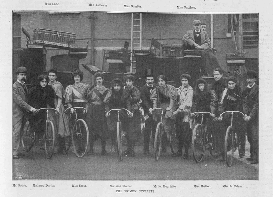 Various women riders from a six-day race held at the Olympia in March 1896. (The Sketch, 4 March 1896, p. 257)