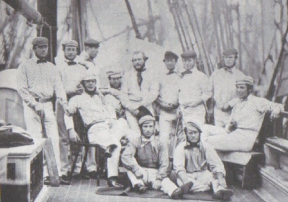 The first English touring team pictured on board ship at Liverpool: Standing left–right:Robert Carpenter,William Caffyn,Tom Lockyer; Middle row left-right:John Wisden,HH Stephenson, George Parr,James Grundy,Julius Caesar, Thomas Hayward,John Jackson; Front row left-right: Alfred Diver,John Lillywhite.