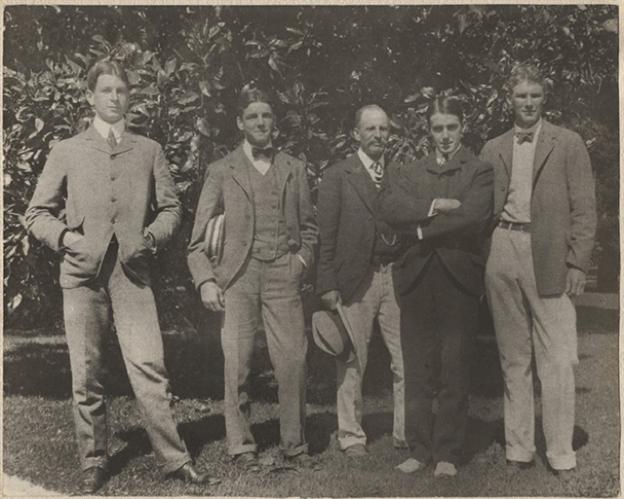 California, 1899 (L-R Dwight Davis, Beals Wright, George Wright, Holcombe Ward, Malcolm Whitman)