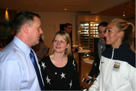Neil Mather with original player Debbie Darbyshire and current star Toni Duggan at the re-launch in 2014
