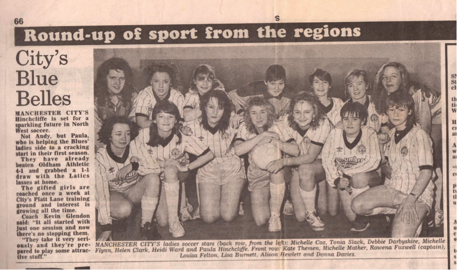 Manchester City Ladies' first photograph appearance in the Manchester Evening News, January 1989