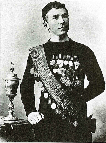 Jaap Eden celebrating a Skating World Championship 1893-1895
