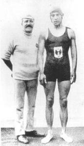Frederick Holman with trainer Walter Brickett