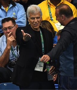 Mark Spitz is seen in the crowd at the Olympics Aquatic Stadium, Rio 2016