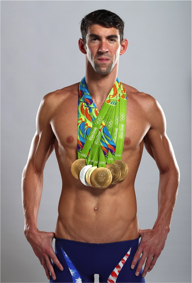 Phelps poses in a tribute to Spitz