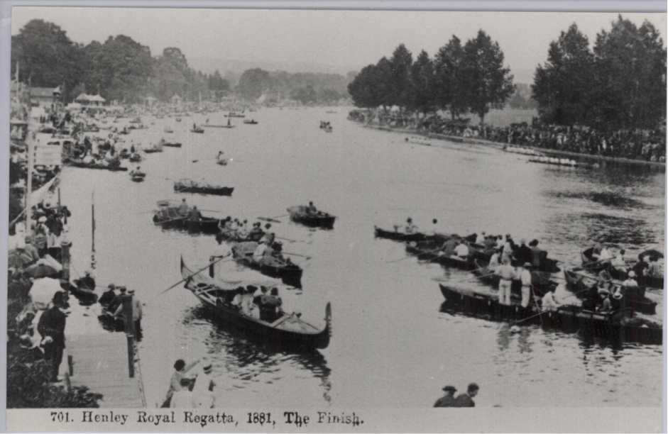 Postcard image of Henley Royal Regatta 'The Finish' (1881) © River & Rowing Museum