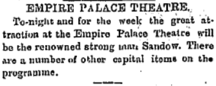 Empire Palace Theatre, The Freemans Journal, 02 May (1898), 6