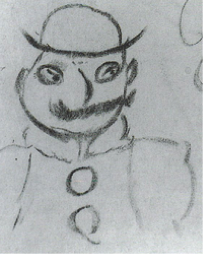 Leopold Bloom, as drawn by James Joyce in 1926. Courtesy of openculture.com