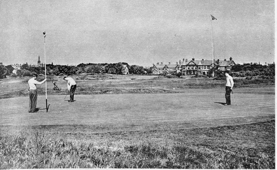 17th Green at Royal Lytham & St Annes, with Clubhouse (background right)