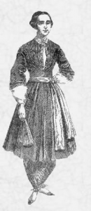Amelia Bloomer in her famous costume (1851)