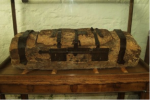 Ancient Parish Chest carved from a single piece of wood. St Beuno's Church, Clynnog Fawr, Caernarfonshire