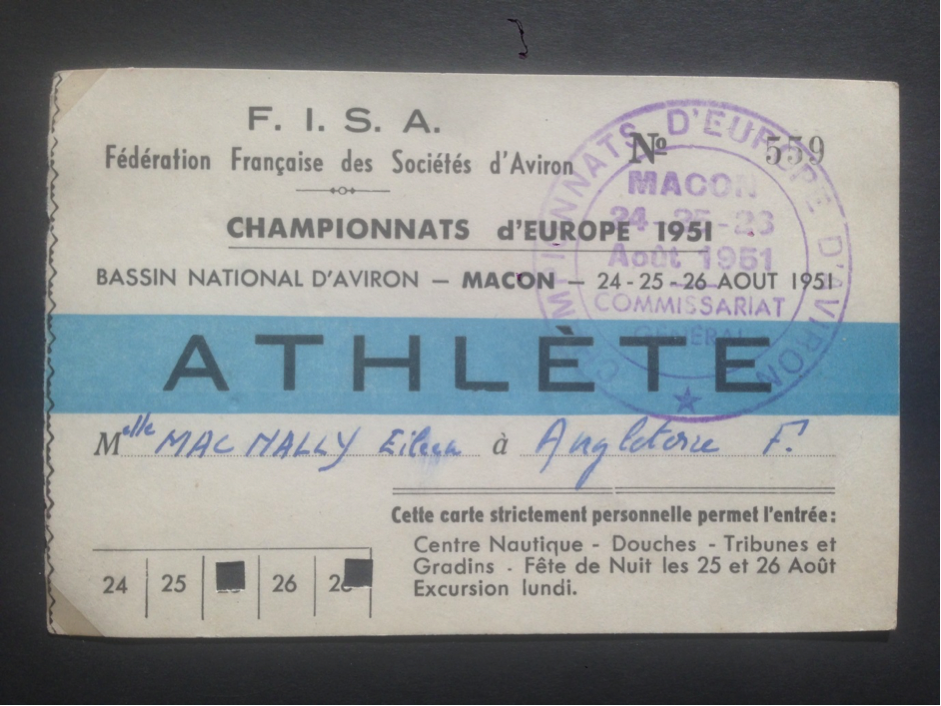 Athlete badge belonging to Eileen MacNally, one of the British women competing at Macon