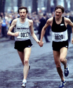 Beardsley & Simonsen cross the London Marathon finish line